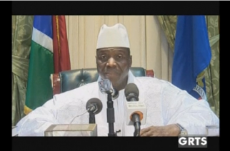 Longtime ruler of Gambia Yahya Jammeh announces he is stepping down as president to avoid bloodshed.(photo grabbed from Reuters video)