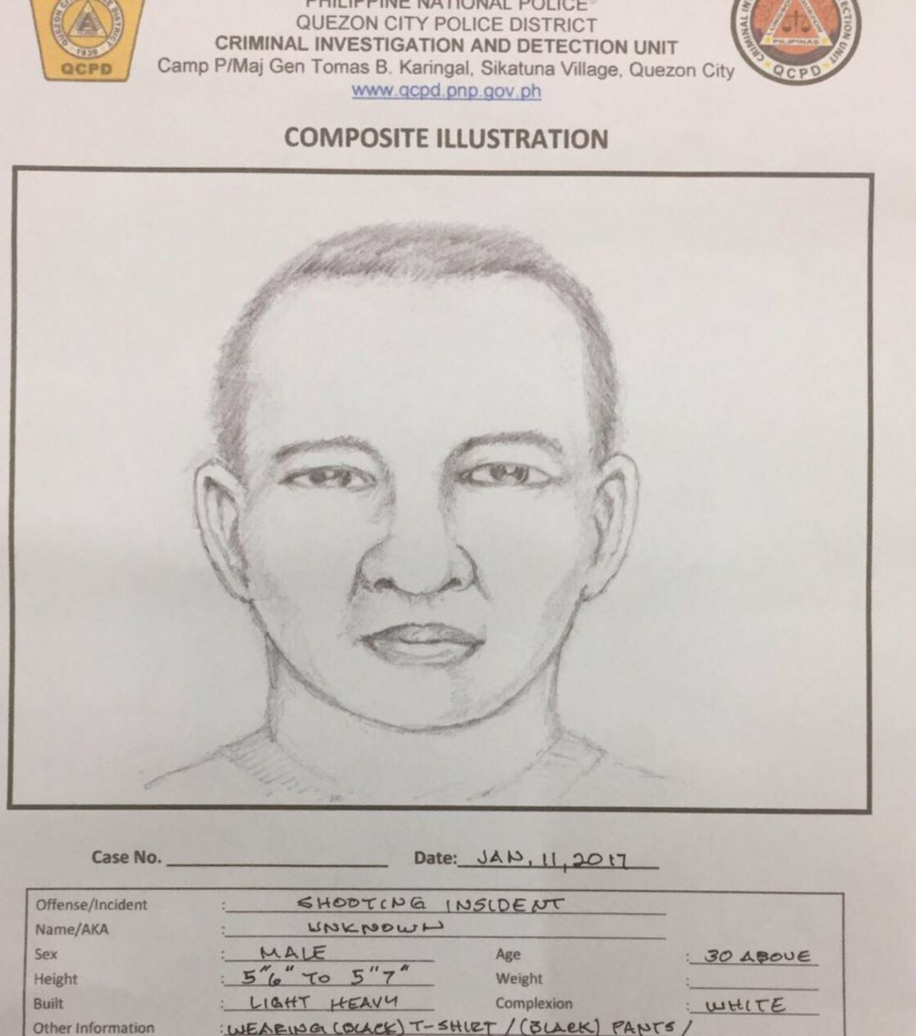 This was the artist's sketch of the suspect in the fatal shooting of Quezon City prosecutor Noel Mingoa.  The killer allegedly shot MIngoa at close range in front of a restaurant along Commonwealth Avenue in Quezon City.  (Eagle News Service)