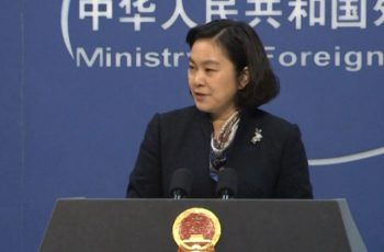 Chinese Foreign Ministry spokeswoman Hua Chunying said China is urging the United States to abide by the one-China principle.  (Photo grabbed from CCTV video)