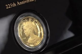 The United States Mint unveils a $100 gold coin featuring an African-American woman as the face of Lady Liberty for the first time in the history of U.S. currency.  (Photo grabbed from Reuters video)