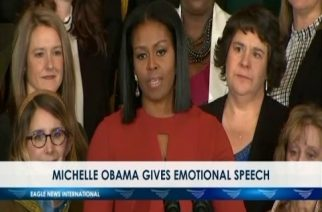 Michelle Obama gives emotional speech
