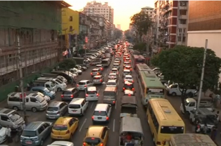 As more Yangon drivers take to the streets, authorities are pressed to think of ways to resolve the city's worsening traffic.(photo grabbed from Reuters video)