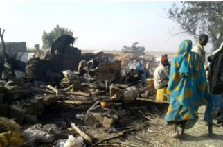 Nigeria's air force killed 50 people and injured 120 in an air strike on a camp for displaced persons, Medecins Sans Frontieres (MSF) say. The military said the strike had targeted Boko Haram.  (Photo grabbed from Reuters video)