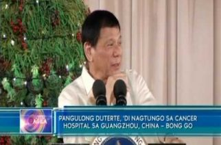 Pangulong Duterte, 'di nagtungo sa cancer hospital sa Guangzhou, China – Bong Go