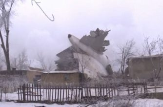 A Turkish cargo jet crashes near Kyrgyzstan's Manas airport killing at least 37 people, most of them residents of a village struck by the Boeing 747 as it tried to land in dense fog.