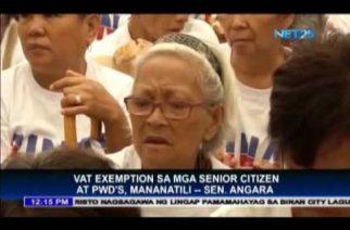 VAT exemptions of senior citizens and PWDs will remain – Sen. Angara