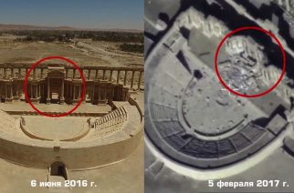 """An image grab taken from video footage made available on the Russian Defence Ministry's official website on February 13, 2017, reportedly shows destruction to the Roman amphitheatre monumnent in Palmyra, Syria. Russia's military on Monday released drone footage showing more destruction of treasured monuments by the Islamic State in Syria's Palmyra since jihadists recaptured the UNESCO World Heritage Site late last year. The black-and-white video dated February 5 shows part of the Roman amphitheatre reduced to rubble and the tetrapylon, a 16-columned structure that marked one end of the ancient city's colonnade, wiped out. / AFP PHOTO / Russian Defence Ministry / HO / RESTRICTED TO EDITORIAL USE - MANDATORY CREDIT """"AFP PHOTO / HO / Russian Defence Ministry - NO MARKETING NO ADVERTISING CAMPAIGNS - DISTRIBUTED AS A SERVICE TO CLIENTS"""