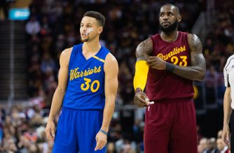 CLEVELAND, OH - DECEMBER 25: Stephen Curry #30 of the Golden State Warriors and LeBron James #23 of the Cleveland Cavaliers pause on the court during the first half at Quicken Loans Arena on December 25, 2016 in Cleveland, Ohio. NOTE TO USER: User expressly acknowledges and agrees that, by downloading and/or using this photograph, user is consenting to the terms and conditions of the Getty Images License Agreement. Mandatory copyright notice.   Jason Miller/Getty Images/AFP