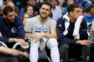 DALLAS, TX - JANUARY 05: Andrew Bogut #6 of the Dallas Mavericks sits on the bench in the first half as the Dallas Mavericks take on the Phoenix Suns at American Airlines Center on January 5, 2017 in Dallas, Texas. NOTE TO USER: User expressly acknowledges and agrees that, by downloading and or using this photograph, User is consenting to the terms and conditions of the Getty Images License Agreement.   Tom Pennington/Getty Images/AFP