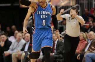 HOUSTON, TX - JANUARY 05: Russell Westbrook #0 of the Oklahoma City Thunder celebrtaes after a three-point shot against the Houston Rockets at Toyota Center on January 5, 2017 in Houston, Texas. NOTE TO USER: User expressly acknowledges and agrees that, by downloading and/or using this photograph, user is consenting to the terms and conditions of the Getty Images License Agreement.   Bob Levey/Getty Images/AFP