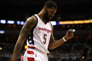 WASHINGTON, DC - FEBRUARY 10: Markieff Morris #5 of the Washington Wizards reacts against the Indiana Pacers during the second half at Verizon Center on February 10, 2017 in Washington, DC. NOTE TO USER: User expressly acknowledges and agrees that, by downloading and or using this photograph, User is consenting to the terms and conditions of the Getty Images License Agreement.   Patrick Smith/Getty Images/AFP