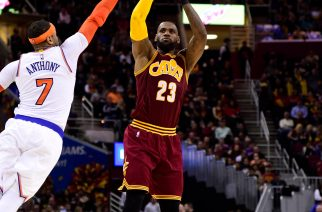 CLEVELAND, OH - FEBRUARY 23: LeBron James #23 of the Cleveland Cavaliers shoots over Carmelo Anthony #7 of the New York Knicks during the second half at Quicken Loans Arena on February 23, 2017 in Cleveland, Ohio. The Cavaliers defeated the Knicks 119-104. NOTE TO USER: User expressly acknowledges and agrees that, by downloading and/or using this photograph, user is consenting to the terms and conditions of the Getty Images License Agreement.   Jason Miller/Getty Images/AFP