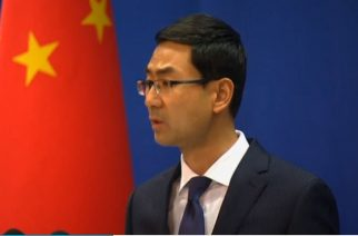 China's Foreign Ministry Spokesman, Geng Shuang says China opposes actions by other countries under the pretext of freedom of navigation that damage its sovereignty, after a U.S. aircraft carrier strike group began patrols in the contested South China Sea.  (Photo grabbed from Reuters video)