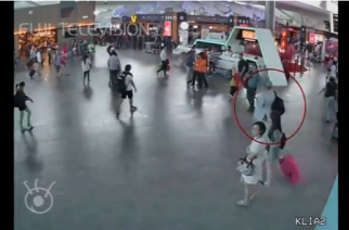 Airport footage purports to show the attack on the half-brother of the North Korean leader in Kuala Lumpur.(photo grabbed from Reuters video)