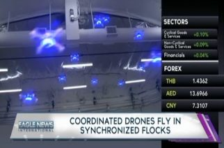 Coordinated drones fly in synchronized flocks