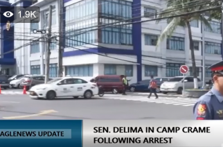 At the national police headquarters Camp Crame in Quezon City where senator Leila De Lima is undergoing booking procedures after her arrest 8 a.m. Friday at the Senate.  (Photo from eaglenewsph facebook live)