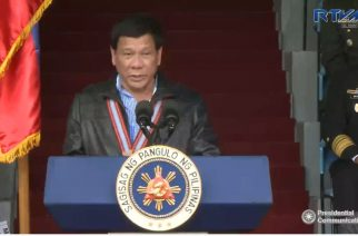 President Rodrigo Duterte calls on the military and the police to contain the ISIS threat in the country during his speech at the Philippine Military Academy ALumnis Association Inc.'s homecoming in Baguio City.  (Photo grabbed from RTVM video)