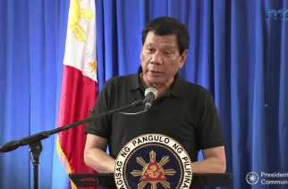 President Duterte speaks to the victims of the 6.7 magnitude quake that hit Surigao del Norte on February 12, Sunday. The quake hit Surigao City at 10:03 p.m. Friday (February 10)  Photo grabbed from RTVM video