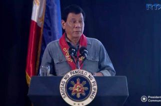 President Duterte speaking at the the 38th national convention of the Philippine Association of Water Districts in Davao City on Thursday, February 2, 2016.  (Photo grabbed from RTVM video)