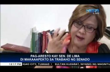 Senator De Lima's arrest will not affect the Senate's work
