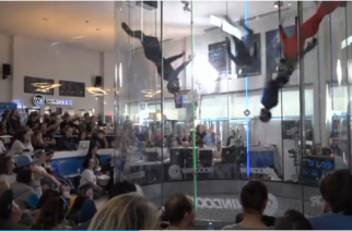 Over 200 flyers compete in the fourth edition of the Wind Games indoor skydiving championship at the wind tunnel in Empuriabrava, Spain, including a 14-year-old female from Singapore.(photo grabbed from Reuters video)