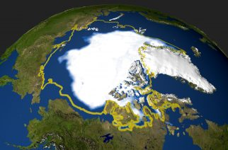 "(FILES) This file satellite photo taken on September 29, 2005 and handout by NASA shows the minimum concentration of Arctic sea ice in 2005 that occurred on September 21, when the sea ice extent dropped to 2,05 million square miles (53 094 969 million square kilometers). There's good and bad news for people, and polar bears, threatened by the Arctic's vanishing sea ice, scientists said on March 6, 2017. First the good news: summer ice cover is ""virtually certain"" to survive if average global warming does not rise more than 1.5 degrees Celsius (2.7 degrees Fahrenheit) above pre-industrial era levels, they reported in the journal Nature Climate Change. / AFP PHOTO / NASA / HO"