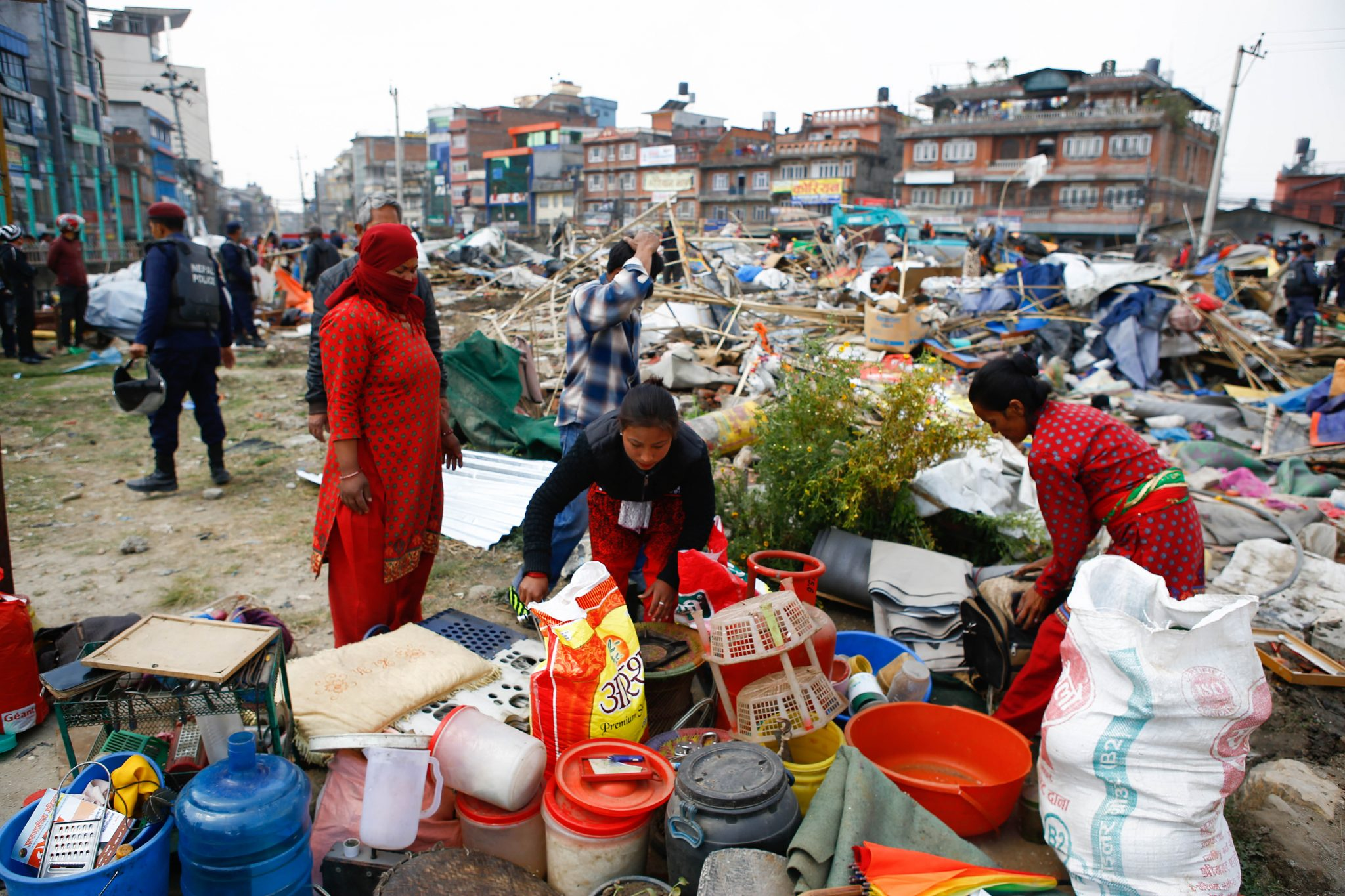 Nepal police demolish camp for earthquake displaced