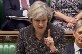 "A video grab from footage broadcast by the UK Parliament's Parliamentary Recording Unit (PRU) shows British Prime Minister Theresa May as she reacts to heckling during her speech in the House of Commons in London on March 14, 2017. British Prime Minister Theresa May will make a major statement to parliament on Tuesday, just hours after MPs enabled her to start the withdrawal process from the European Union. / AFP PHOTO / PRU AND AFP PHOTO / HO / RESTRICTED TO EDITORIAL USE - MANDATORY CREDIT "" AFP PHOTO / PRU "" - NO MARKETING NO ADVERTISING CAMPAIGNS - NO RESALE - NO DISTRIBUTION TO THIRD PARTIES - 24 HOURS USE - NO ARCHIVES"