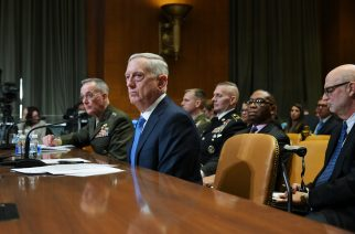US Defense Secretary James Mattis (R) and Chairman of the Joint Chiefs of Staff Joseph Dunford (L) testify before the Senate Appropriations Committee Defense Subcommittee on defense readiness and budget update in the Dirksen Senate Office Building on March 22, 2017 in Washington, DC. / AFP PHOTO / MANDEL NGAN
