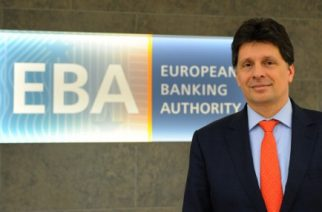 European Banking Authority (EBA) chief Adam Farkas poses for a picture at the EBA offices in London's Canary Wharf financial district on March 23, 2017. Brexit will likely see the European Banking Authority forced to quit London -- and rival cities are jockeying for position in the race to become its new home, EBA chief Adam Farkas told AFP. Farkas, executive director of the European Union's financial regulator since 2011, spoke in an interview at its headquarters in London's plush Canary Wharf finance district before the triggering of Britain's two-year EU exit procedure.  / AFP PHOTO / Alice DORE / TO GO WITH STORY BY ALICE DORE