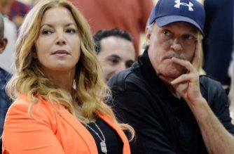 EL SEGUNDO, CA - AUGUST 10: Jim Buss and his sister Jeanie Buss of the Los Angeles Lakers attend a news conference where Dwight Howard was introduced as the newest member of the team at the Toyota Sports Center on August 10, 2012 in El Segundo, California. The Lakers acquired Howard from Orlando Magic in a four-team trade. In addition Lakers will receive Chris Duhon and Earl Clark from the Magic.   Kevork Djansezian/Getty Images/AFP
