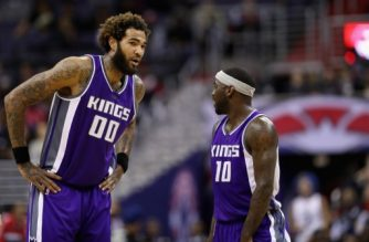 WASHINGTON, DC - NOVEMBER 28: Willie Cauley-Stein #00 of the Sacramento Kings talks with Ty Lawson #10 against the Washington Wizards at Verizon Center on November 28, 2016 in Washington, DC. NOTE TO USER: User expressly acknowledges and agrees that, by downloading and or using this photograph, User is consenting to the terms and conditions of the Getty Images License Agreement.   Rob Carr/Getty Images/AFP