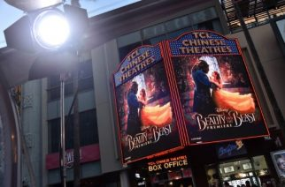 """LOS ANGELES, CA - MARCH 02: Signage seen at Disney's """"Beauty and the Beast"""" premiere at El Capitan Theatre on March 2, 2017 in Los Angeles, California.   Frazer Harrison/Getty Images/AFP"""