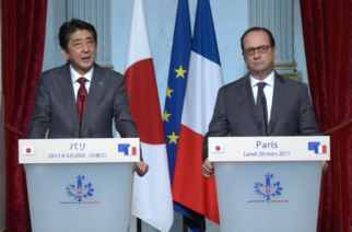 "Japan's Prime Minister Shinzo Abe says he hopes the Europe's ""strong cohesion"" will be preserved as he meets French President Francois Hollande in Paris.(photo grabbed from Reuters video)"