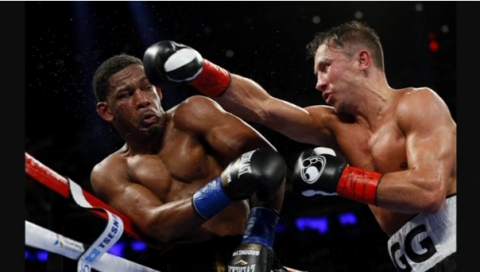 Unbeaten Kazakh Gennady Golovkin fails to knockout American Daniel Jacobs but secures 12 round unanimous decision to retain his middleweight title belts.(photo grabbed from Reuters video)