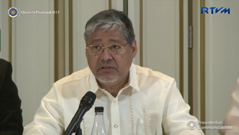 Department of Foreign Affairs acting secretary Enrique Manalo reveals that China is now interested in pushing the Framework on the Code of Conduct on the South China Sea. (Photo grabbed from RTVM video)