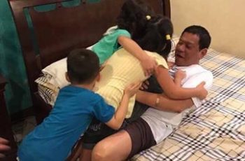 News in photos: President Duterte surprised with warm hugs and kisses by grandkids on 72nd bday