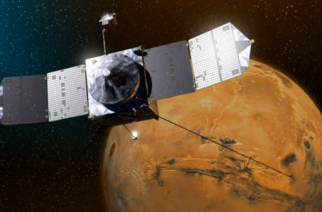 NASA satellite orbiting Mars fires its engine to avoid collision with one of the planet's two small moons.(photo grabbed from Reuters video)