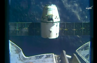 The SpaceX Dragon cargo resupply craft is released from the International Space Station to begin its journey back to Earth, where it will splash down in the Pacific Ocean.(grabbed from Reuters video)