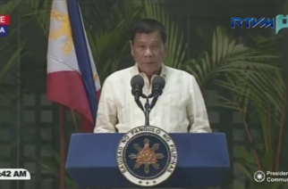 President Rodrigo Duterte reads a speech at the Ninoy Aquino International Airport in Pasay City upon arriving from his official visits in Myanmar and Thailand at around 2:30 a.m. Thursday, March 23, 2017.  (Photo grabbed from RTVM video)