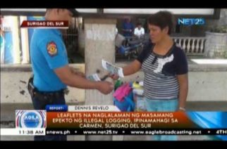 Leaflets na naglalaman ng masamang epekto ng illegal logging, ipinamahagi sa Carmen, Surigao Del Sur
