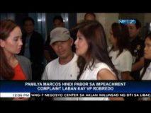 Pamilya Marcos hindi pabor sa impeachment complaint laban kay VP Robredo
