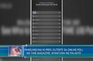 Pangunguna ni President Duterte sa online poll ng Time Magazine, ikinatuwa ng Palasyo