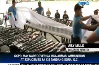QCPD, may nerecover na mga armas, ammunition at explosives sa #36 T.Sora, Q.C.