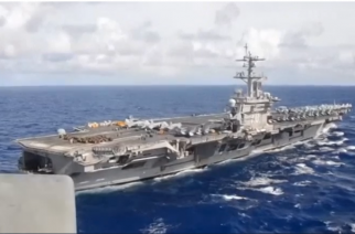 Aerial view of aircraft carrier USS Carl Vinson (Photo grabbed from Reuters video)