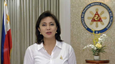 Vice President Leni Robredo in her six-minute video message recorded for a side session to the United Nations Commission on Narcotic Drugs annual meeting in Vienna on Thursday, March 16, 2017. The video was presented by a Washington-based non government organization which is against drug wars in general. (Photo grabbed from Robredo's video message)