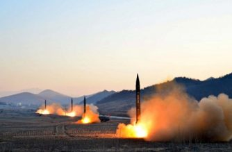 "This undated picture released by North Korea's Korean Central News Agency (KCNA) via KNS on March 7, 2017 shows the launch of four ballistic missiles by the Korean People's Army (KPA) during a military drill at an undisclosed location in North Korea.  Nuclear-armed North Korea launched four ballistic missiles on March 6 in another challenge to President Donald Trump, with three landing provocatively close to America's ally Japan. / AFP PHOTO / KCNA VIA KNS / STR / South Korea OUT / REPUBLIC OF KOREA OUT   ---EDITORS NOTE--- RESTRICTED TO EDITORIAL USE - MANDATORY CREDIT ""AFP PHOTO/KCNA VIA KNS"" - NO MARKETING NO ADVERTISING CAMPAIGNS - DISTRIBUTED AS A SERVICE TO CLIENTS THIS PICTURE WAS MADE AVAILABLE BY A THIRD PARTY. AFP CAN NOT INDEPENDENTLY VERIFY THE AUTHENTICITY, LOCATION, DATE AND CONTENT OF THIS IMAGE. THIS PHOTO IS DISTRIBUTED EXACTLY AS RECEIVED BY AFP.  /"