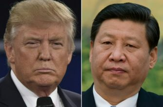 "(COMBO) This combination of pictures created on April 04, 2017 shows US President Donald Trump in St. Louis, Missouri on October 9, 2016 and China's leader Xi Jinping in Beijing on December 5, 2012.  The first summit between US President Donald Trump and his Chinese counterpart Xi Jinping will be of ""great significance"" for global peace, the two countries' top diplomats agreed ahead of the meeting in Florida this week. / AFP PHOTO / Paul J. Richards AND Ed Jones"