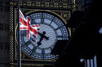 A Union flag flies in the wind in front of the clock face of Elizabeth Tower, commonly referred to as Big Ben, near the Houses of Parliament in Westminster, central London on April 18, 2017.  British Prime Minister Theresa May called Tuesday for a snap election on June 8, in a shock move as she seeks to bolster her position before tough talks on leaving the EU. May is apparently aiming to cash in on her 20-point lead over the main opposition Labour party to increase her majority and give her a stronger hand in the Brexit battles with Brussels ahead.  / AFP PHOTO / Justin TALLIS