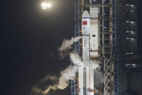 A Long March 7 orbital launch vehicle carrying China's cargo spacecraft Tianzhou-1 is seen shortly before lift off from its launch pad at the Wenchang Space Launch Centre in Wenchang, southern China's Hainan Province, on April 20, 2017. A Chinese rocket successfully sent the country's first cargo spacecraft, Tianzhou-1, into space from the southern island province of Hainan on April 20. / AFP PHOTO / FRED DUFOUR
